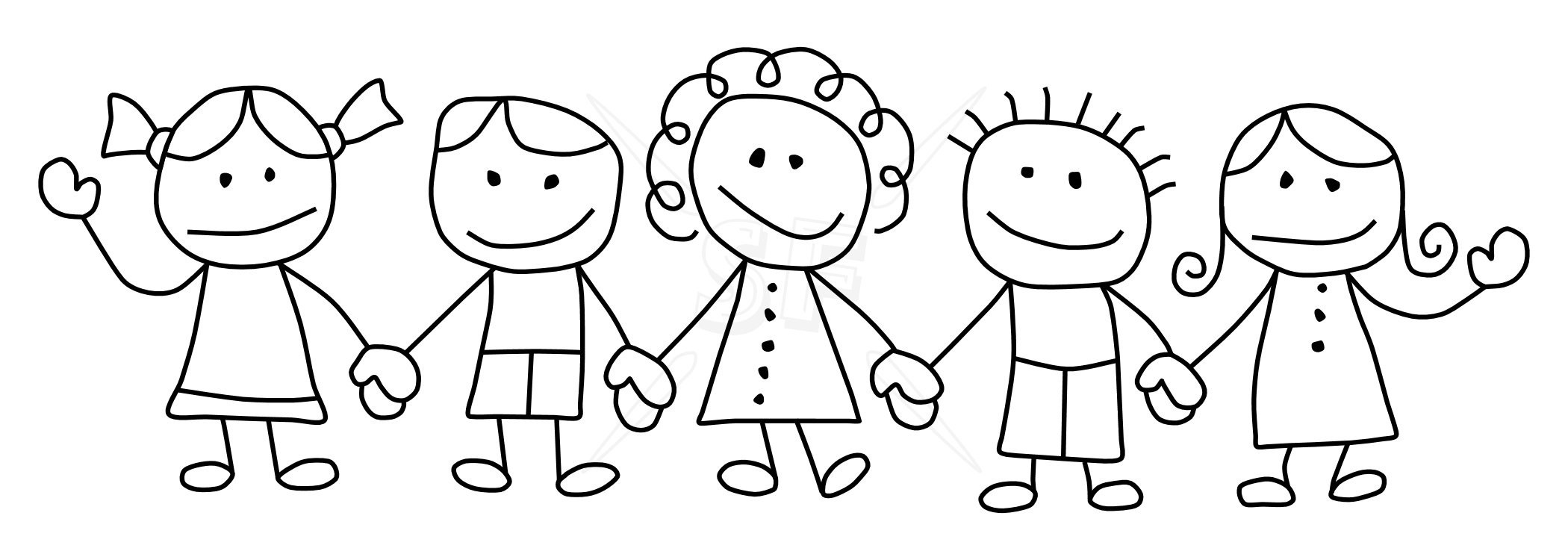 Children Holding Hands Black And White Clipart – Kind Of ...