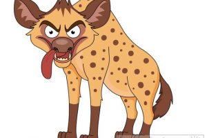 angry looking hyena cartoon style clipart