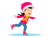 illustration of girl ice skating in warm winter clothes clipart