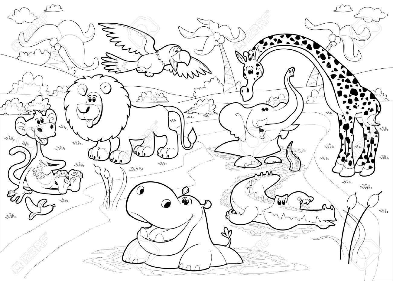 Jungle animals clipart black and white 3 » Clipart Station