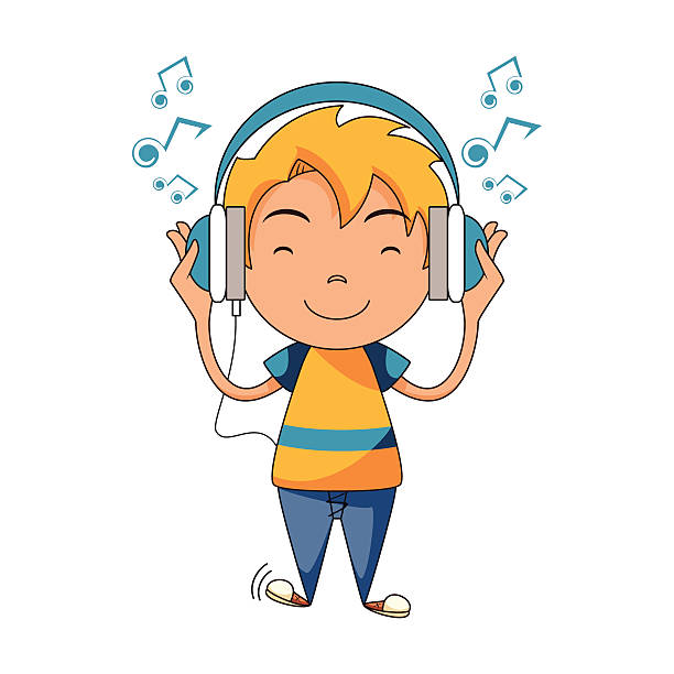 Kid with headphones clipart 1 » Clipart Station