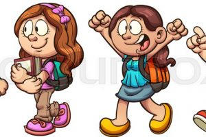 kids walking clipart 5