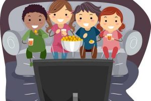 kids watching movie clipart 3
