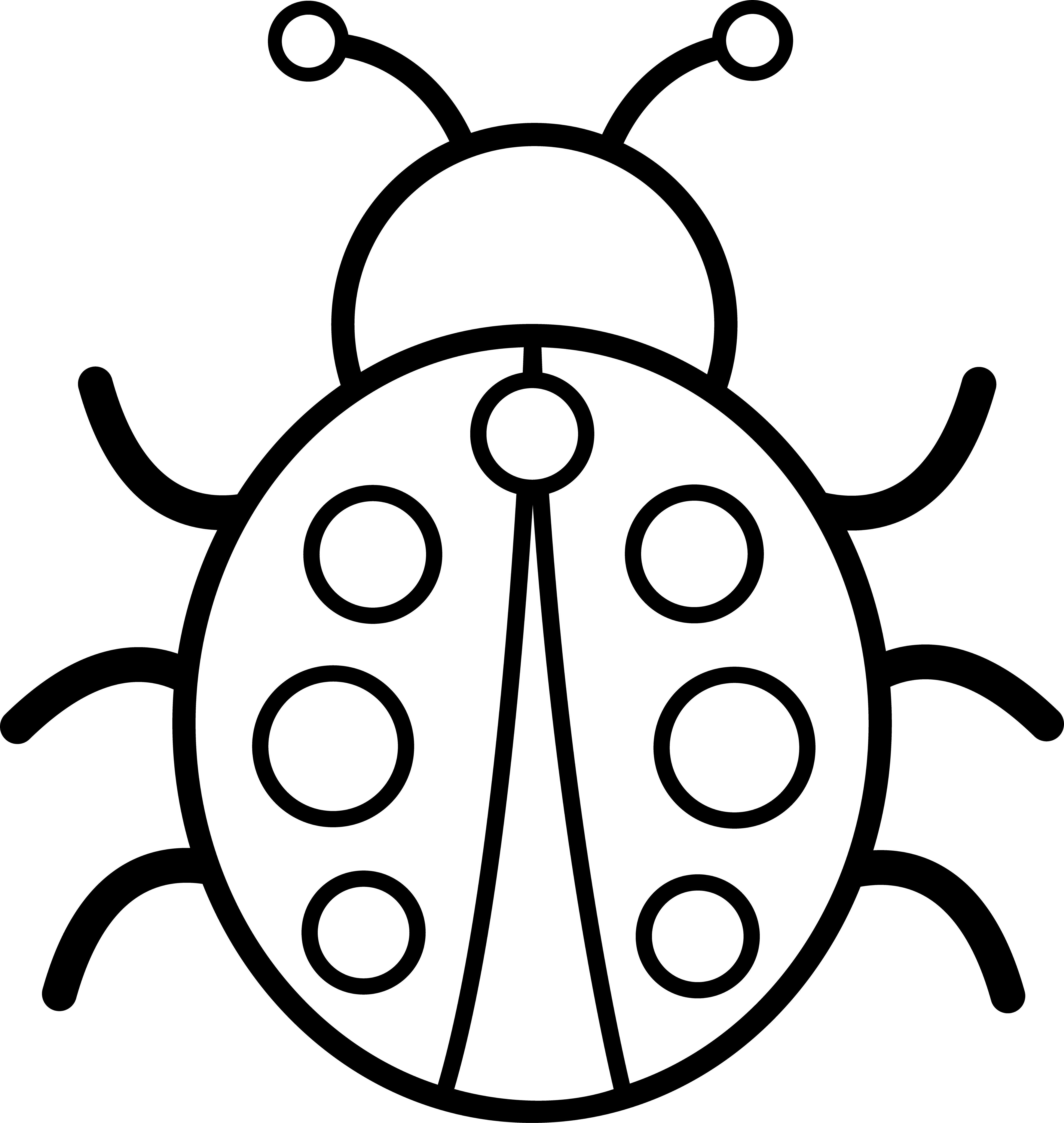 lady bug clipart black and white