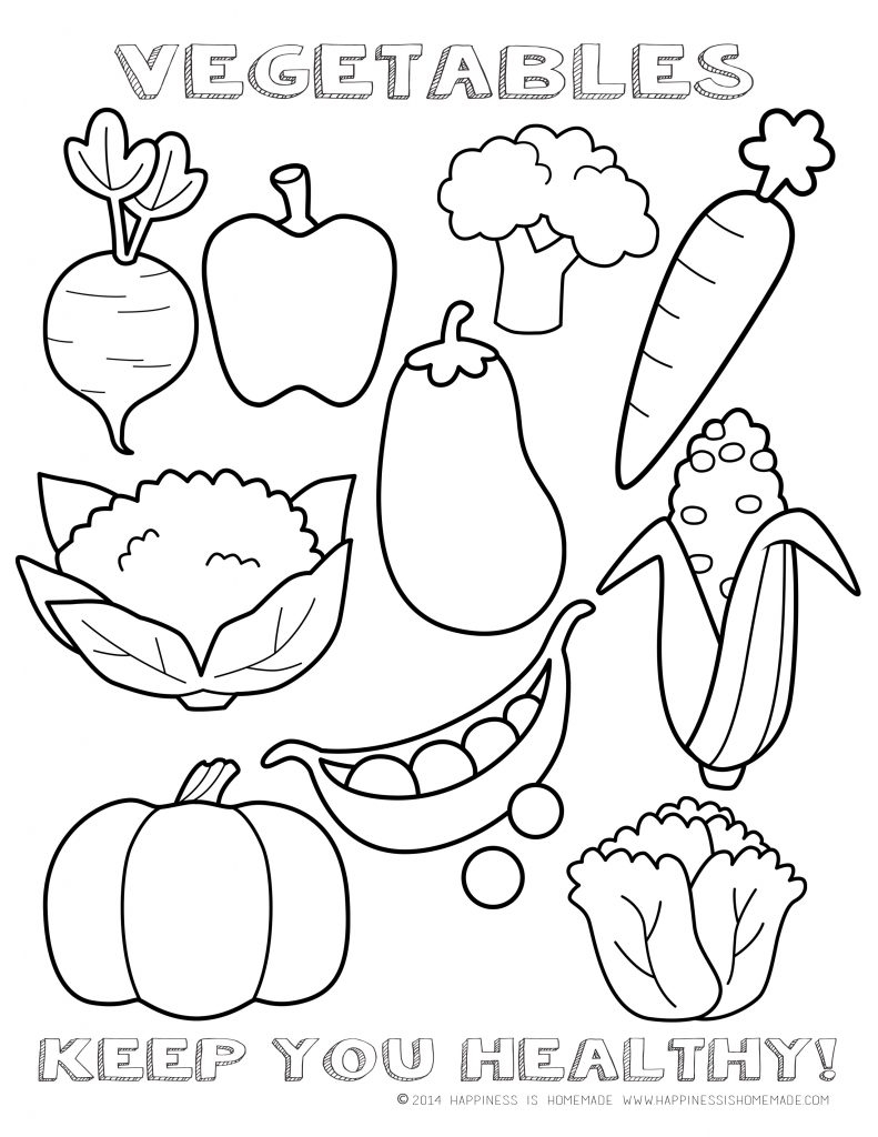 Fruits Vegetables Clipart Coloring Page Pencil And In