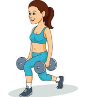 Woman Exercises Forward Step Holding Weights Clipart