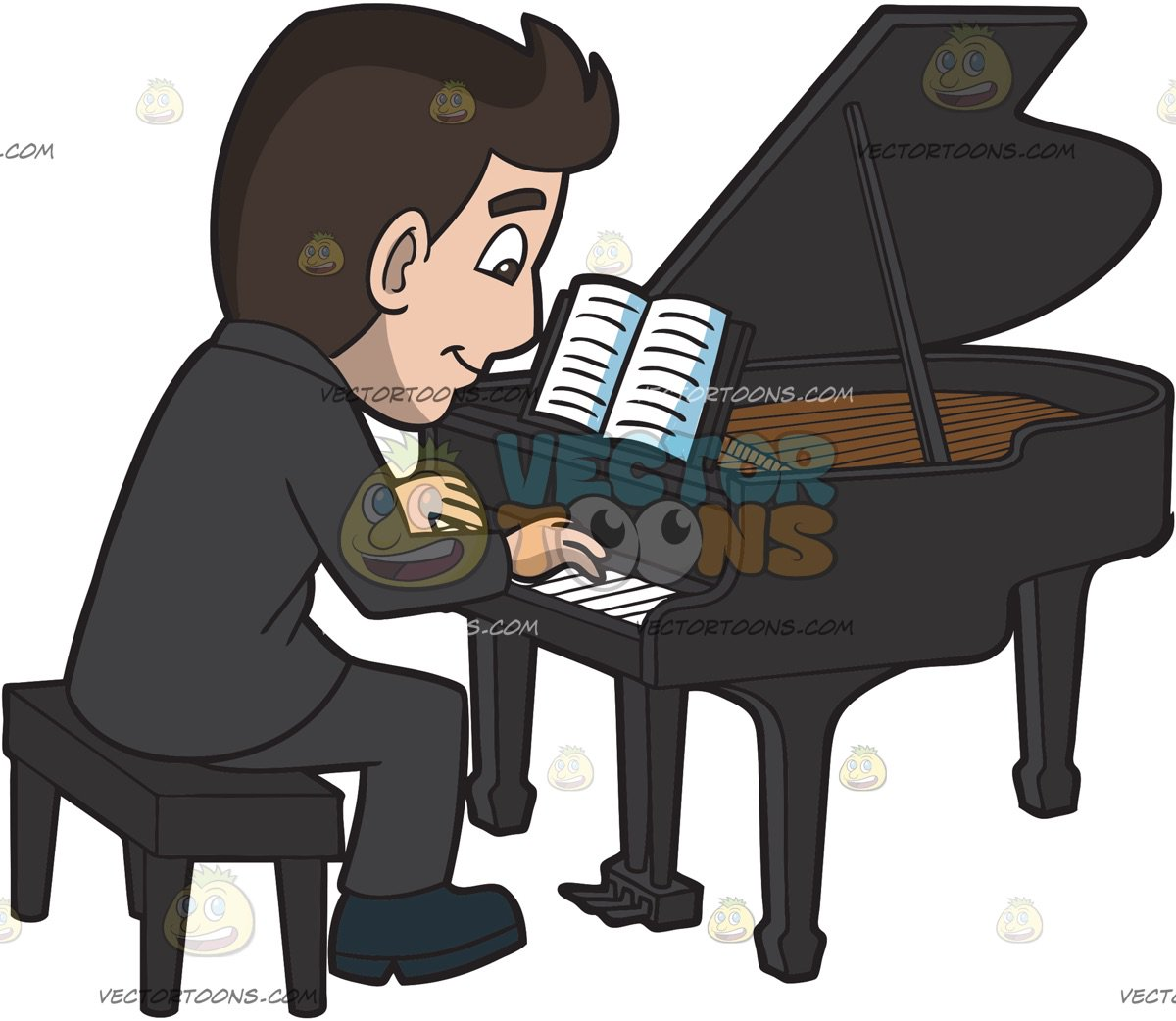 Man Playing Piano Clipart, HD Png Download - kindpng
