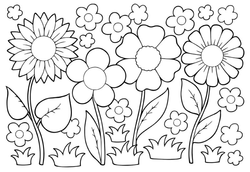 Flower black and white coloring. May flowers clip art