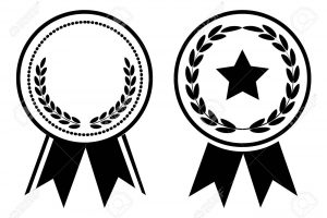 Black and white award, medal with ribbon. Vector illustration