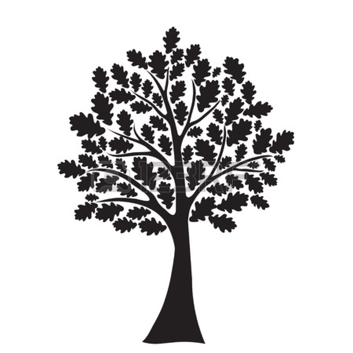 Oak tree black and white clipart 1