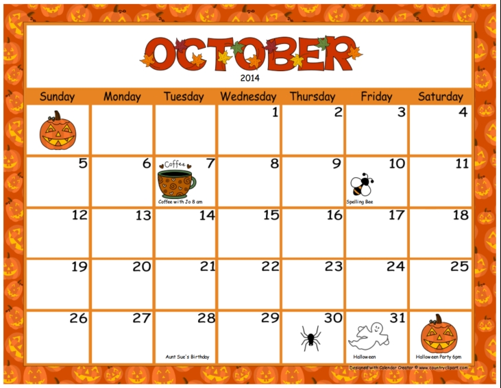 Calendar kid. October clipart station