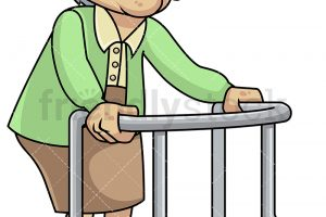Frail old woman with walker – PNG, vector EPS, PDF (infinitely s
