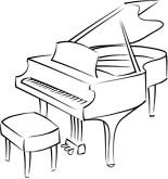 Piano black. And white clipart station