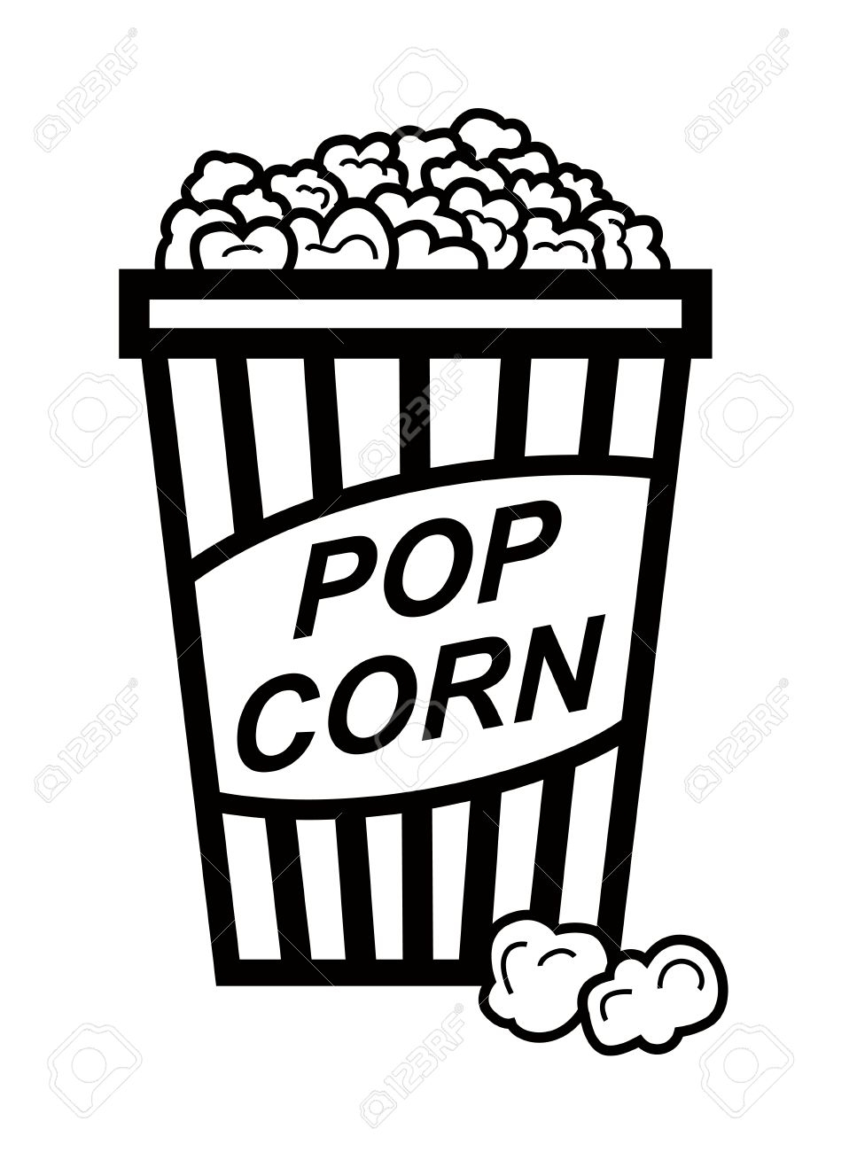 Popcorn black. Clipart and white luxury