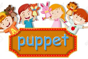 Children playing hand puppets