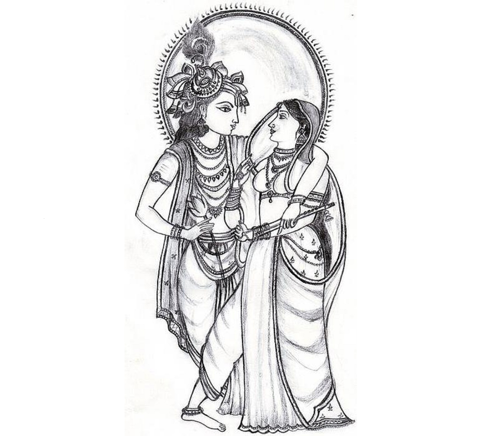 Radha krishna pencil drawings clipart god radha krishna thumb image