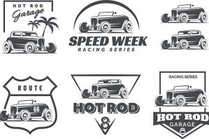 Set of Hot Rod badges emblems and icons.