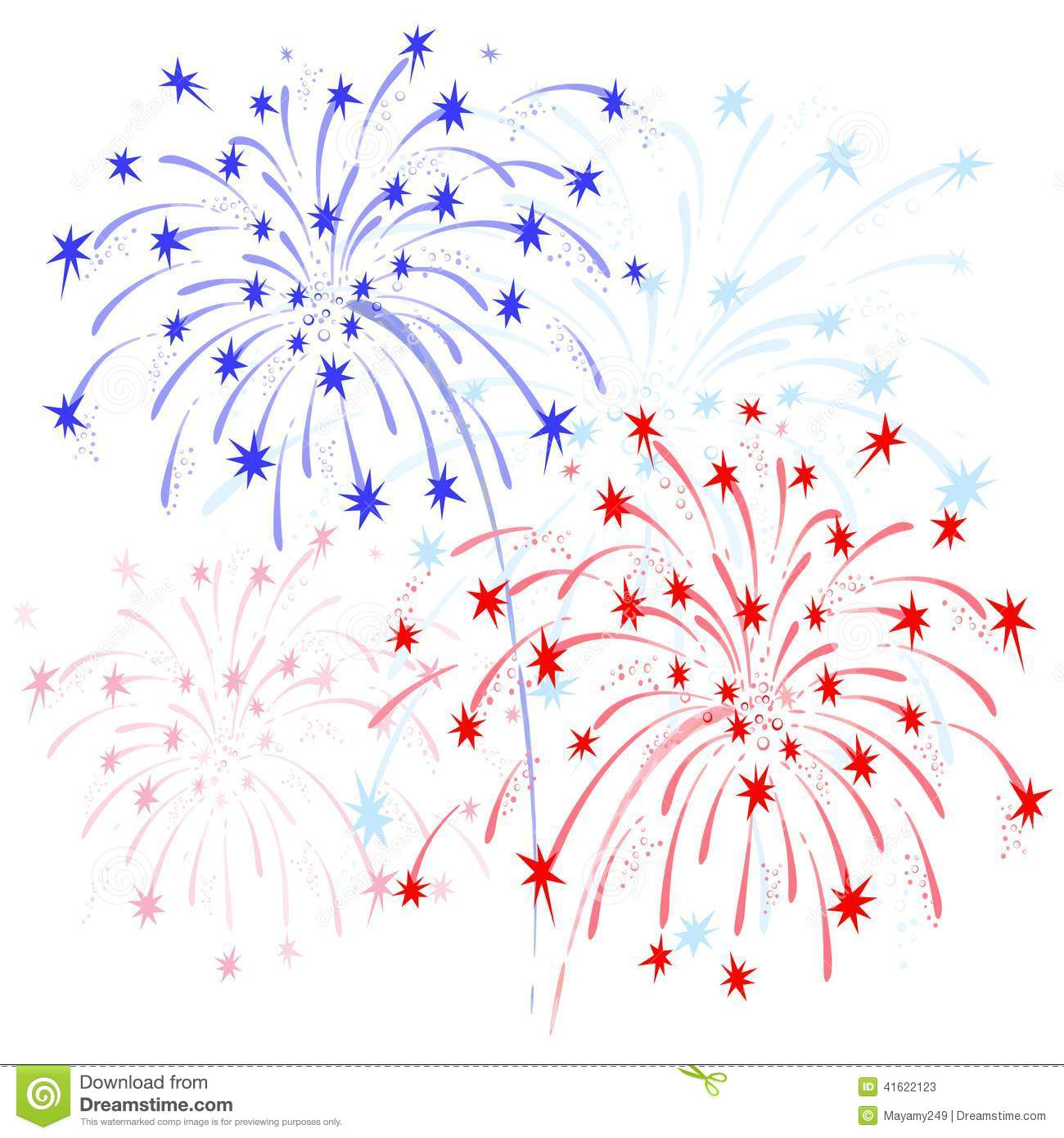 Firework red white blue. And fireworks clipart station