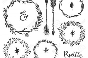 Hand drawn vintage ampersand, arrows and wreaths. Rustic decorat