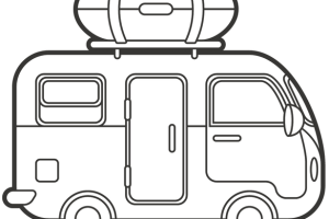 rv clipart black and white 1