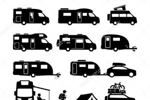 rv clipart black and white 2