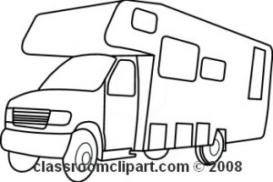 rv clipart black and white 3