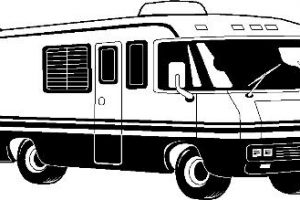 rv clipart black and white 5