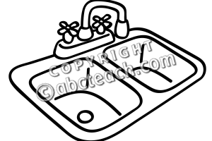 sink clipart black and white