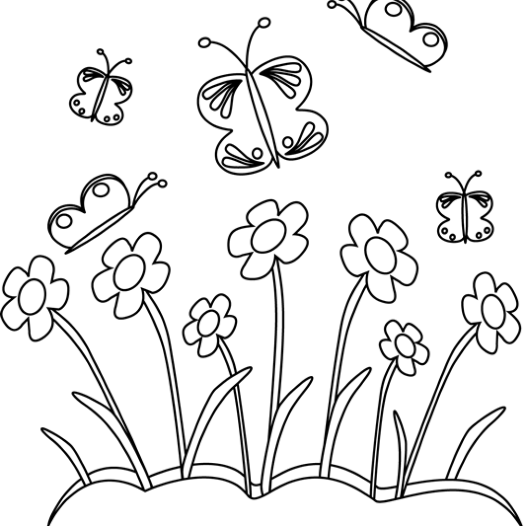 Spring flowers clipart black and white 4 » Clipart Station