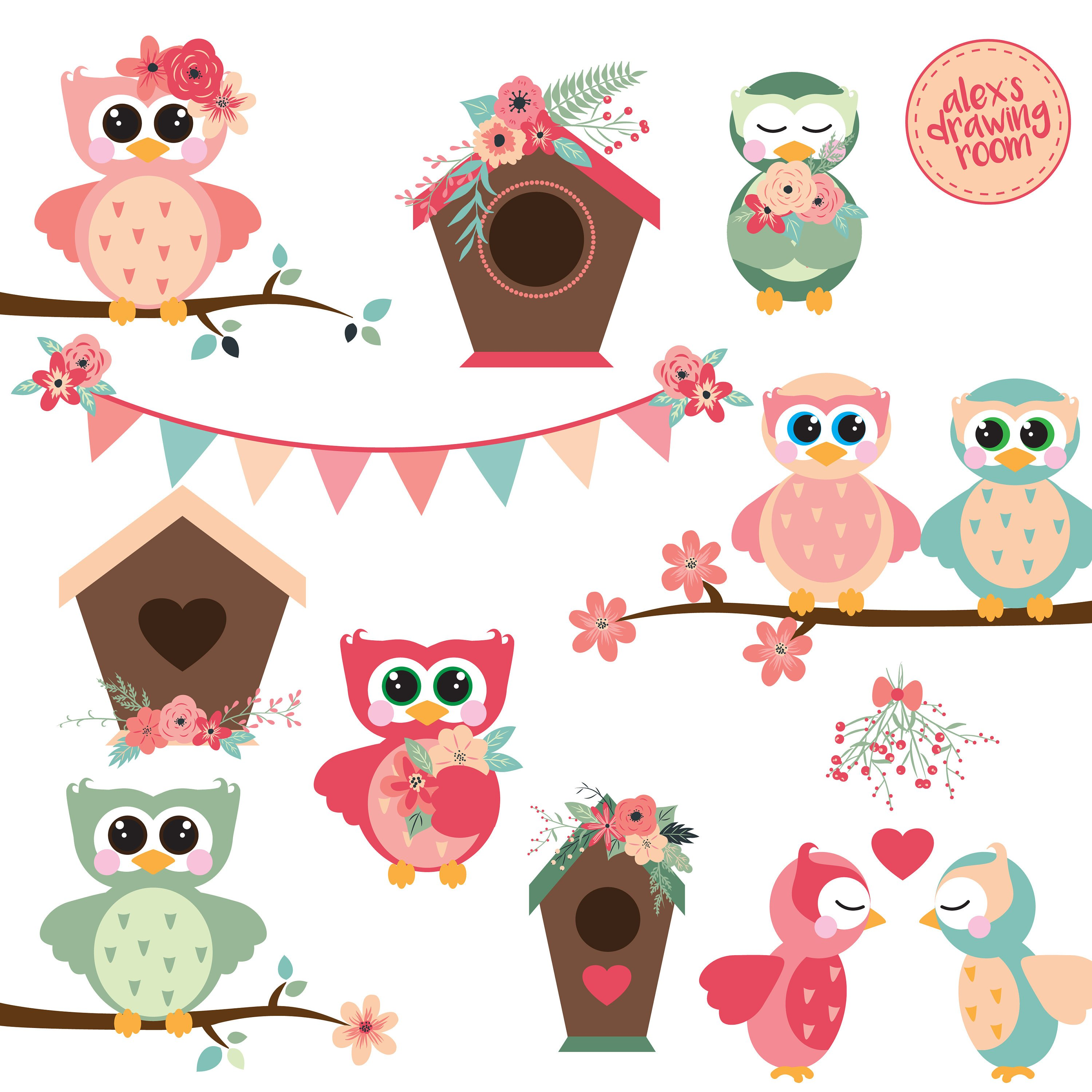Spring owl. Clipart station