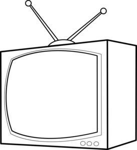Tv black. Television clipart and white