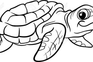 turtle clipart black and white 7