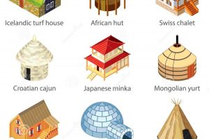 types of houses clipart 3