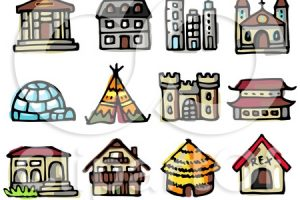 types of houses clipart