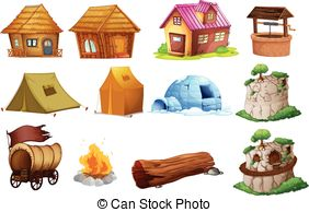 types of houses clipart 4
