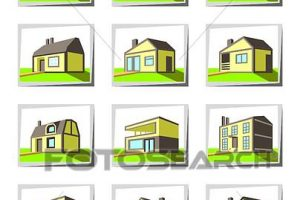 types of houses clipart 5