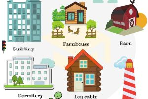 types of houses clipart 6