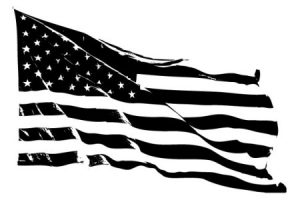 usa flag clipart black and white 2