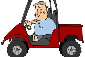 This illustration depicts a man driving a UTV recreational vehicle.