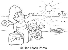 vacation clipart black and white 2