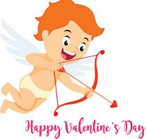 cupid with bow and arrow aiming valentines day clipart