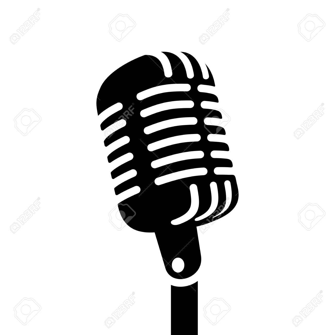 Microphone vector. Retro sign clipart station