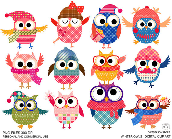 Winter owl. Clipart station