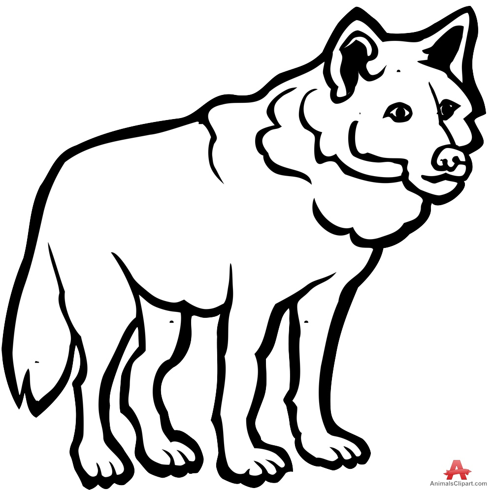 Wolf outline. Black and white drawings