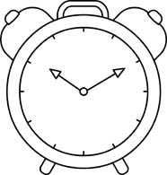 alarm clock time black white outline