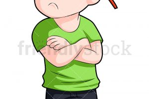 Upset young boy with arms crossed. PNG – JPG and vector EPS (inf