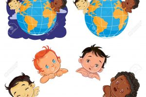 Vector young children of with different skin color located around the globe.