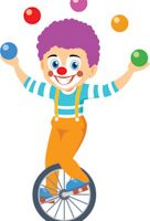 circus clown riding unicycle clipart