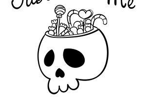 black and white halloween candy clipart 3