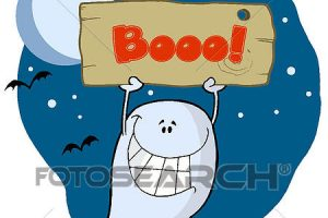 ghost with a sign clipart 1